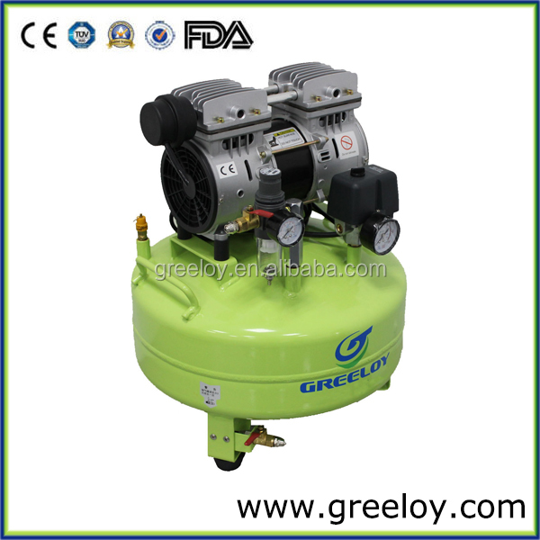 Quiet oil-free piston compressor for dental with 110v motor