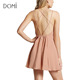 China Factory Female Clothes Summer Backless Nude Color Swing Cami Dress