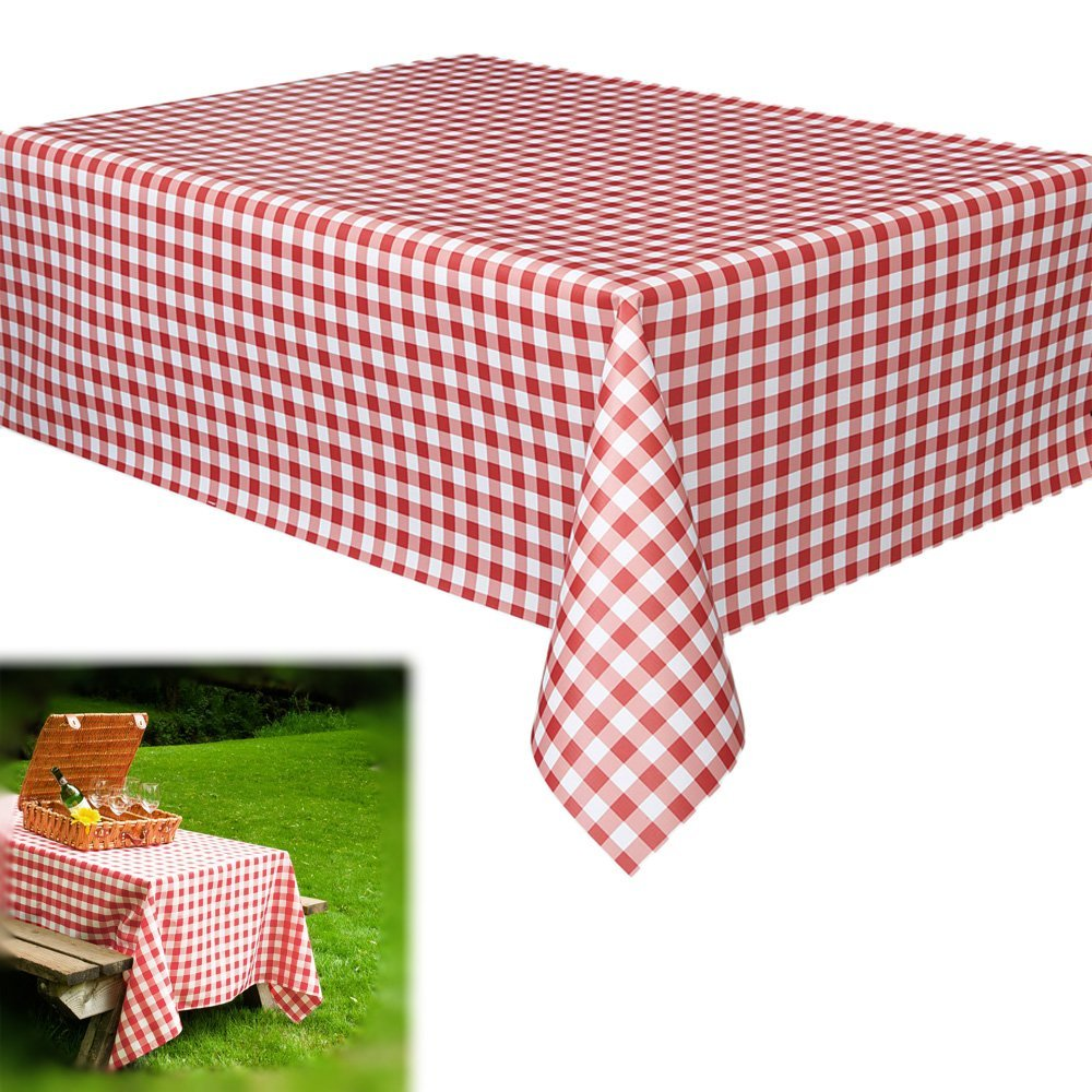 Get Quotations · Vinyl Tablecloth  6 Pack Rectangular Red And White  Checkered Gingham Print Table Cloth Runner For