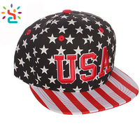 Patch embroidery USA flag snapback hat plain brim baseball caps blank sport cap with Plastic buckle adjuster