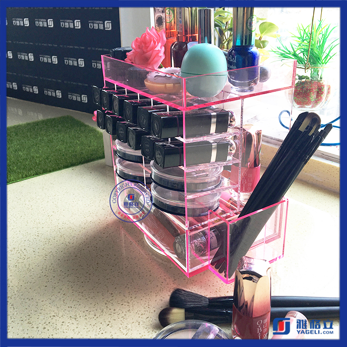 Wholesale mac makeup eyeshadow drawer organizer 360 rotating acrylic lipstick holder