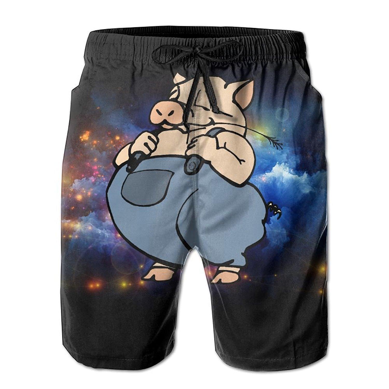 2095bde65a Get Quotations · FFRD6G5 Men's Beach Shorts Pants Unique Men's Sport Half  Short Pants Cute Pig Cartoon Fat Pants