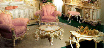 Luxury Baroque Style Single Couch With Baby Pink Fabric, Elegant European  Sofa And Coffee Table