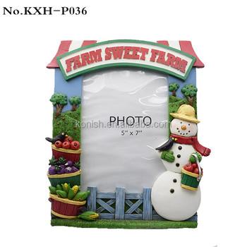 Christmas Standing Snowman Polyresin Picture Frame Farm Sweet Farm ...