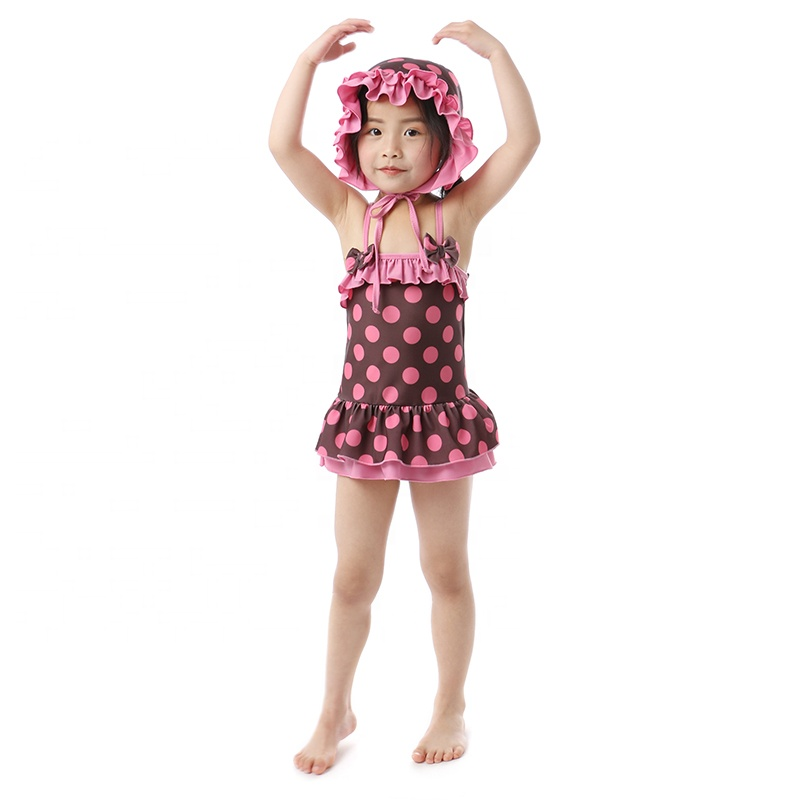 wholesales girls toddlers swimwear summer beach outfit girls baby Polka dot swimsuit