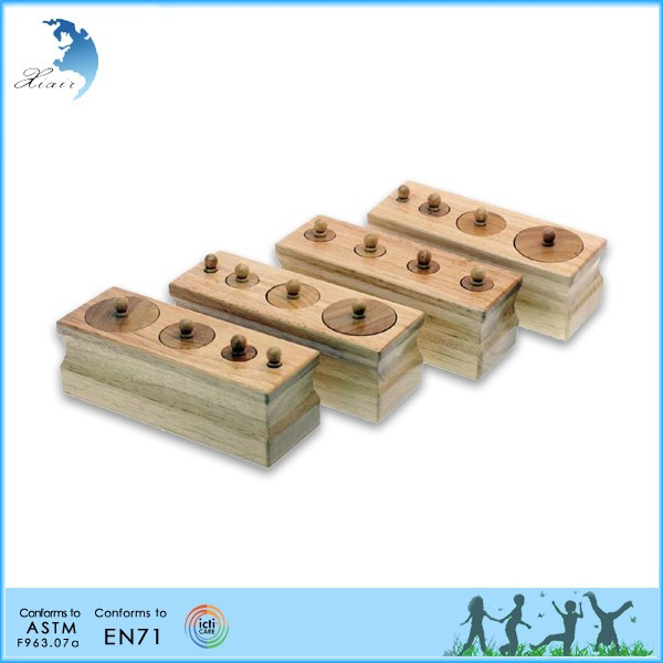 Wood engraved kindergarten montessori material toys Toddler knobbed cylinders