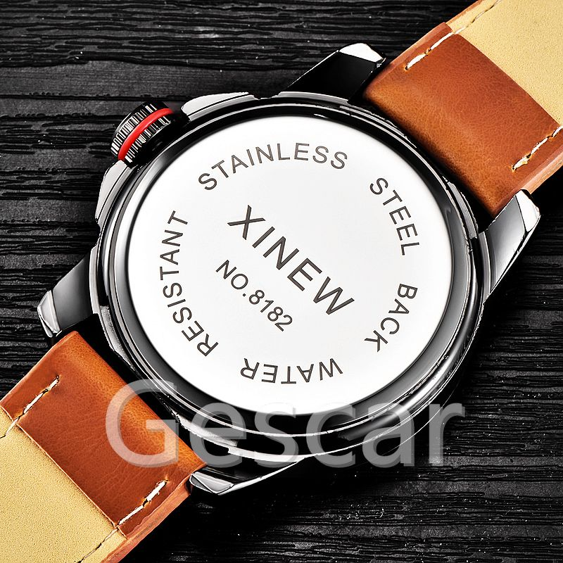 50pcs/lot xinew-8182B original high quality man leather wrap quartz date casual xinew watch for man