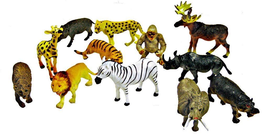 "~ 12 ~ Zoo Safari Animal Figures ~ 3 - 4.5"" ~ Hard Plastic ~ New"