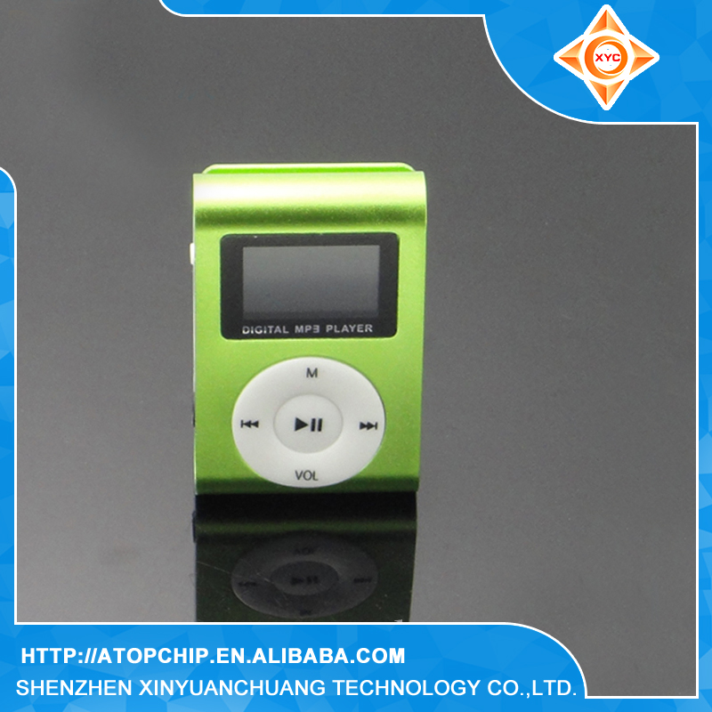 Promotional gift factory cheap mini fm radio clip mp3 player with screen