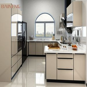High end kitchen cabinets with khaki lacquer kitchen cabinet doors