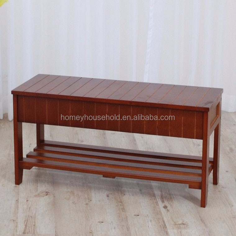 Shabby Chic Vintage Solid Wood Antique Storage Bench Seat