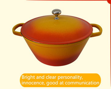 Enamel Cast Iron Casserole Cookware With Bakelite Mat And Suction knob