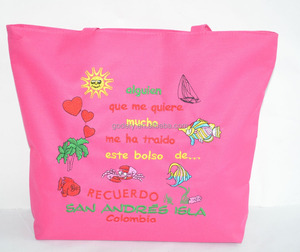 Souvenir Tote bag With Embroidery Design, Polyester Beach Bag