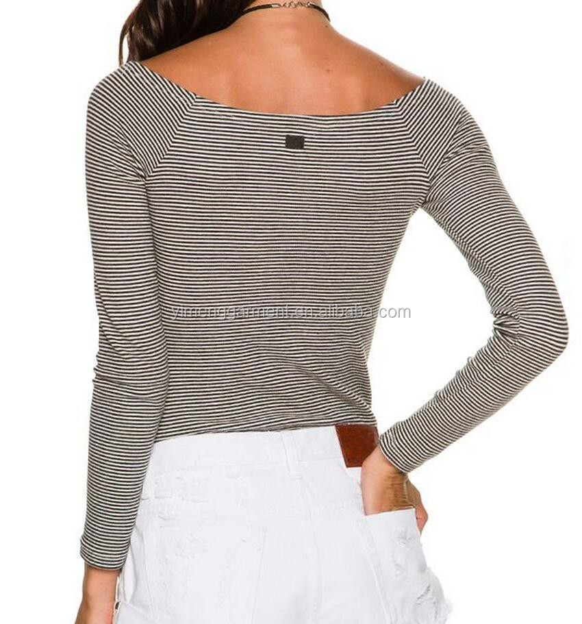 Fashion off the shoulder tee shirts wholesale women custom Custom printed women s t shirts