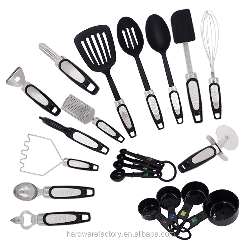 21 Piece and Gadget Set Stainless Steel And Nylon kitchenware, Tongs, Spatulas, Pizza Cutter Kitchen cooking tool set
