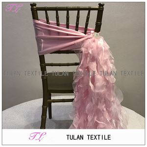 fancy taffeta sash with organza ruffled curly willow chair sash