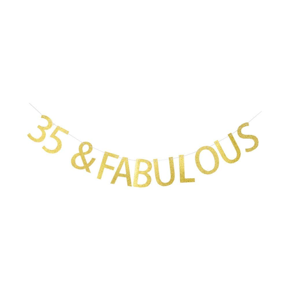 35 Fabulous Banner Happy 35th Birthday Anniversary Party Decorations Gold Glitter