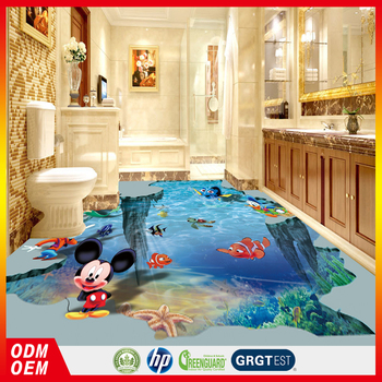 Bathroom floor sticker printing 3d floor sticker cartoon design sticker