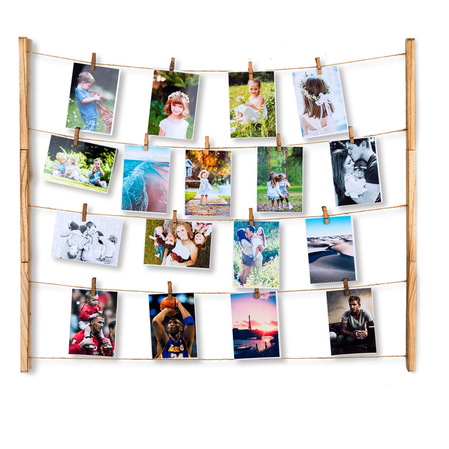 Kitlit Hanging Photo Display Wall with 30 Clips,DIY Picture Frame Collage Set Organizer Includes Wood Strips,Hanging Wire,Wood Clips,Picture Frames&Prints Multi Photos Organizer&Collage Artworks&Baby