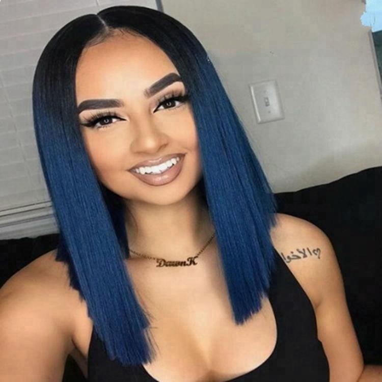 Long Straighe Dark Blue Ombre 100% Japan High Temperature Fiber Synthetic Hair Wig For Women