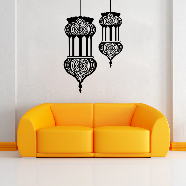 Muslim Culture Wall Stickers Islamic Lantern Wall Decals Home Decor