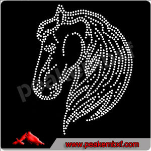 Beautiful Horse with bridle rhinestone pattern hotfix design