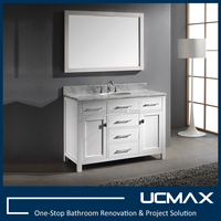 luxury 48 inch matte white bathroom vanity 6 drawers floor standing Mirror