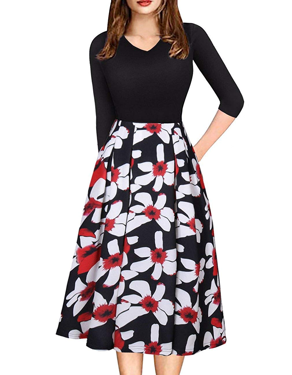 f0fb4777bc4 Get Quotations · Defal Womens Vintage 3 4 Sleeve Bohemia Floral Midi  Patchwork Dress Puffy Swing Casual Party