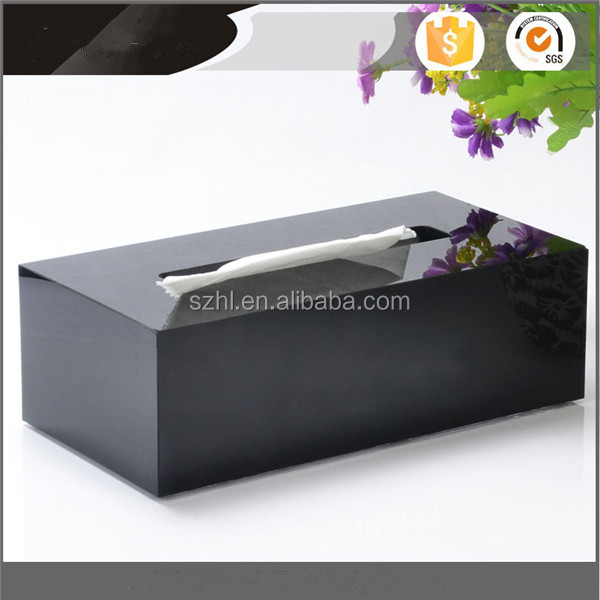 wholesale black rectangular napkin holder household case box tissue cover acrylic tissue box manufacturer