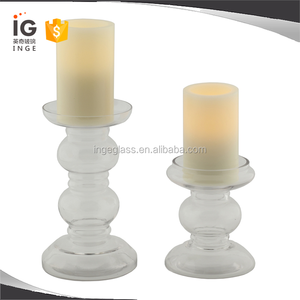 Hand Blown Clear Glass Pillar Candle Holders, Clear Pillar Candle Stick