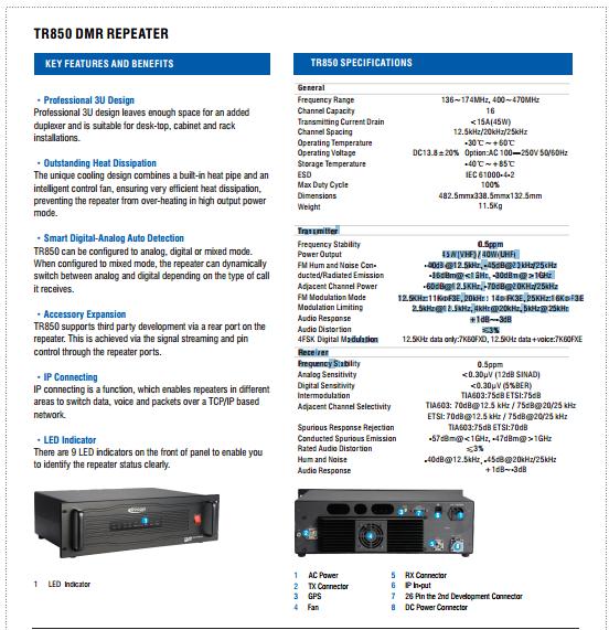 Kirisun Two-way Radio Tr850 Dmr Uhf Vhf Repeater