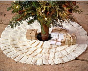 burlap ruffled mini small miniature christmas tree skirt 21 holiday decoration - Small Christmas Tree Skirt