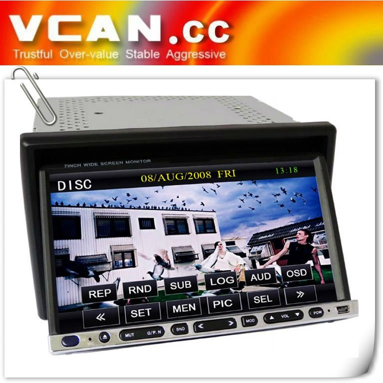 2-DIN in dash 7 Inch Touchscreen Car DVD Player System with AM+FM+bluetooth+RDS+IPOD +USB+SDVCAN0320-10
