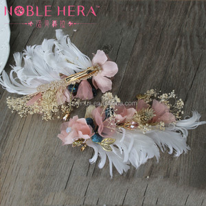 Wholesale Bulk Wedding Hair Accessories with Feather Flower Hair Slides 161TZ