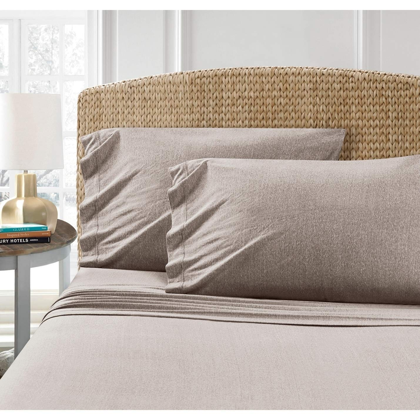 PH 4 Piece Queen Taupe Sheet Set, Casual Style, Jersey Knit Material, Heathered Cotton Blend, Solid Color Pattern, Durable, Soft, Deep Pocket, Fully Elasticized Fitted, Machine Wash - Light Brown