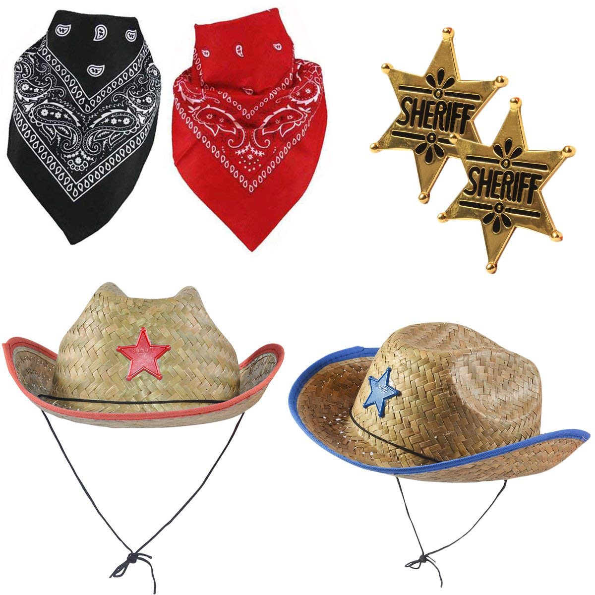 5342eab1ced0a Get Quotations · Funny Party Hats Cowboy Party Hats - Sheriff Costume for  Kids - Cowboy Hats - Dress