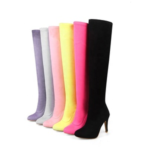 Winter wear ladies high heel boots sexy wholesale thigh high boots suede women heels