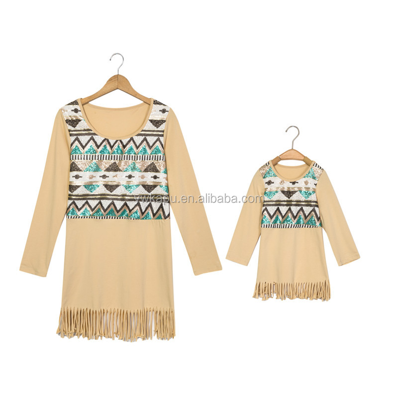 Hot sale Baby Girls Children's Mommy And Me Dress, Girls Boutique Dress Children's long sleeve Dress Clothing Pettidresses