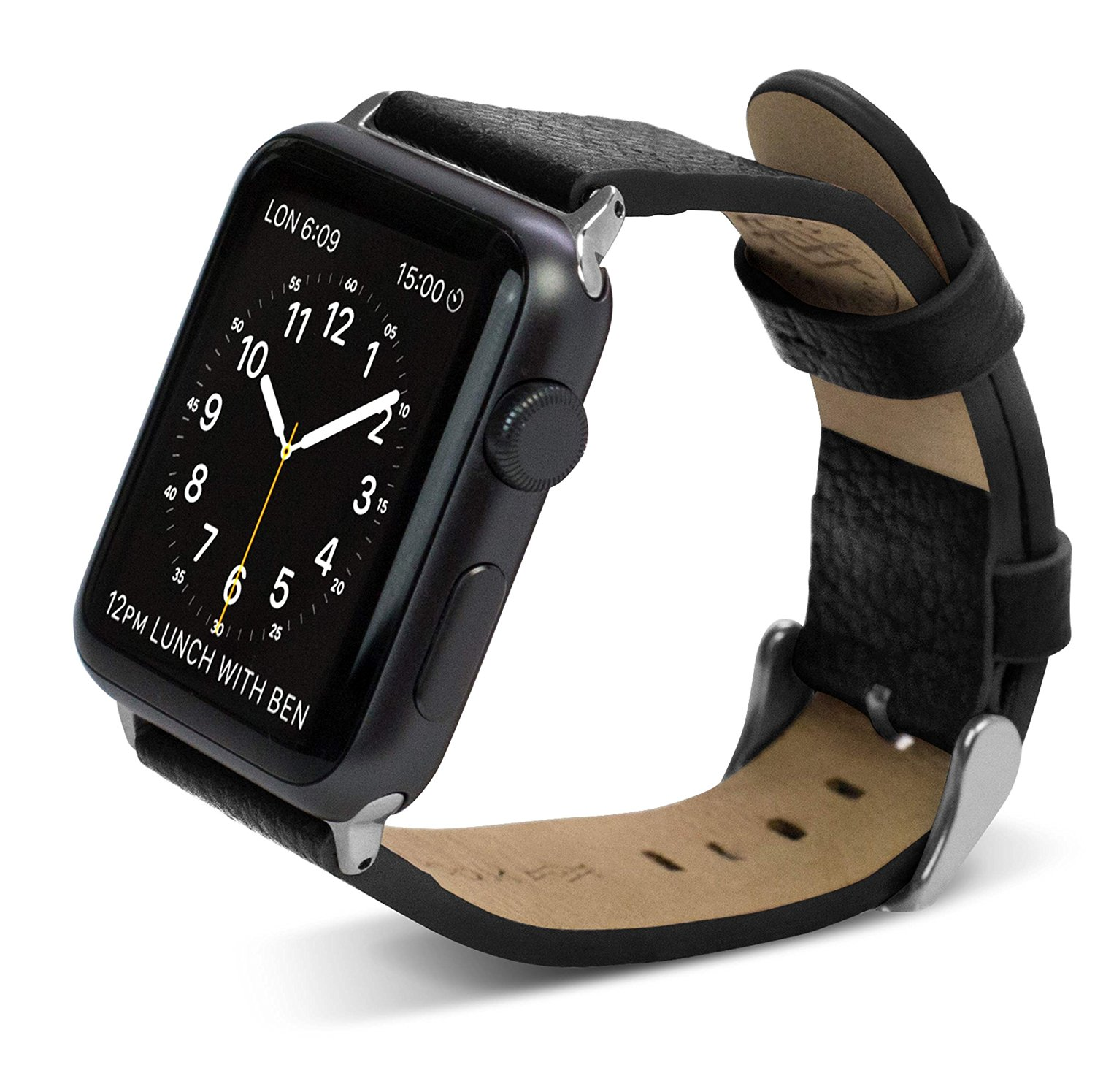 38mm Apple Watch Repalcement Band, X-Doria Lux Band, Genuine Leather, Black Leather for Apple Watch All Models
