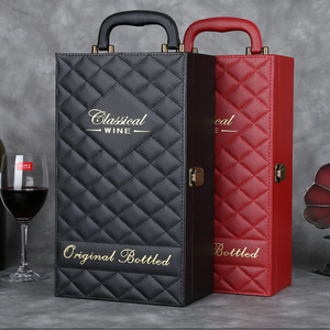 High end leather wine bottle carrier for two bottle