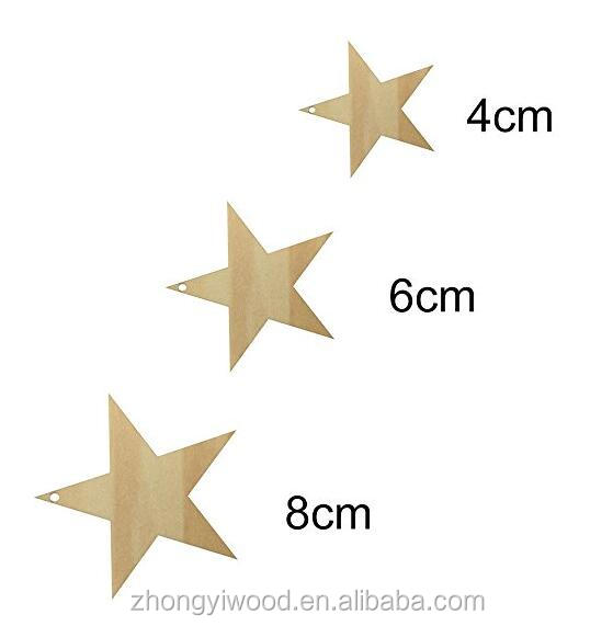 FSC BSCI SA8000 Wooden Star Cutouts Five-pointed Star for Kids Crafts Christmas Tree Ornaments Hanging