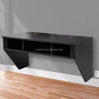 Wood Wall Mounted Floating Desk With Storage Black