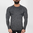 2019 wholesale muscle tight Stretch gym long sleeve t-shirt for men