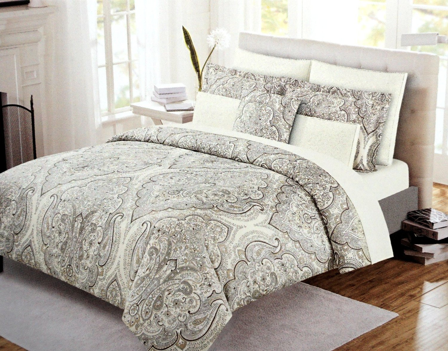 Buy Cynthia Rowley Boho Chic Bedding Taupe Grey Bohemian Paisley Salma Duvet Cover Set 3pc Large Moroccan Damask Medallion Gray Beige Tan Bothe Style King In Cheap Price On Alibaba Com