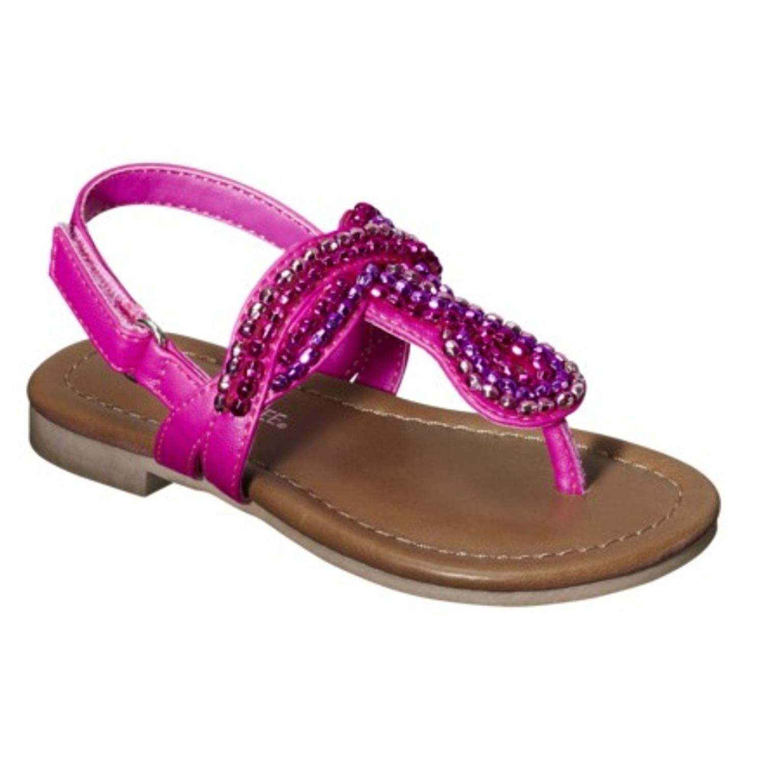 a5e55495cda5 Get Quotations · Cherokee Jumper Toddler Girls Pink Beaded Thong Style  Sandals