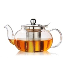 Borosilicate Glass Tea Set With Stainless Steel Strainer Tea Pot