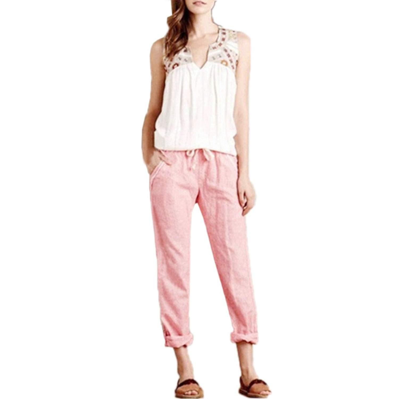 ee5e8eb30581c FarJing Pants for Womens,Clearance Sale Women Plus Size Casual Cotton Linen Pants  Elastic Waist Summer Slim Lady Pants