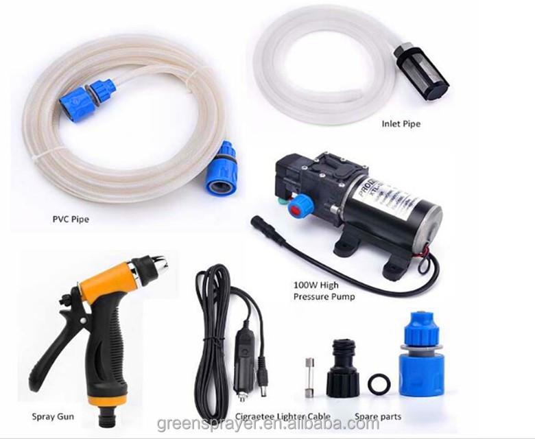Portable Car High Pressure Washer 100W 160PSI High Pressure Self-Priming Car Wash Water Pump 12V Clean Kit