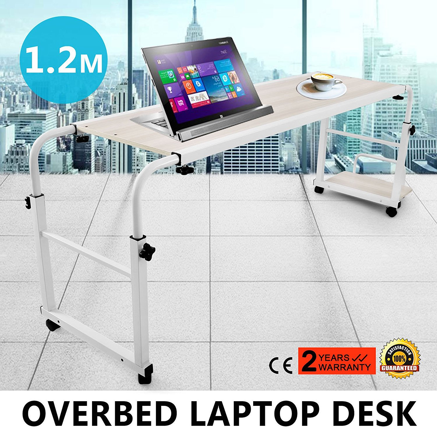 Generic NV_1008003912_QYUS483912 Tabletop Overbed g Lapto Table W/ Tilting Rolling Rolling Laptop W/ Til Food Tray Hospital PC ital PC Desk TV Tray Hospital PC