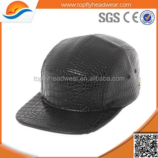 72b26a2f8f3 customizing fashion black leather 5 panel camp cap amp hat